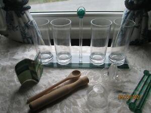 Acrylic MOJITO Set Carrier 4 Tall Glasses Stirrers Muddler & Spoon Strainer Li