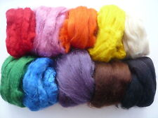 Heidifeathers Dyed Tussah Silk Tops / Fibres Mix -10 Colors - Felting + Spinning