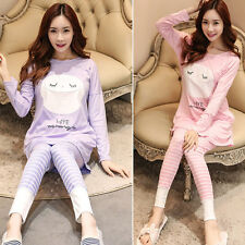 Hot Maternity Sleepwear Cartoon Feeding Homewear Pajama Long Sleeve Tops + Pants