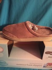 Restor Style Memory Foam Slippers Mens/Womens UNISEX Tan SMALL Non-Skid - NEW