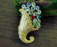 Cornucopia Pin Vintage Rhinestones Brooch B David Thanksgiving brooch     ce
