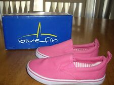 NEW Girls Size 10 Blue Fin Betty Pink Canvas Slip On Shoes