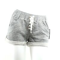 Juicy Couture Track Shorts Womens Heather Roxy French Terry Lace Up Heather Gray