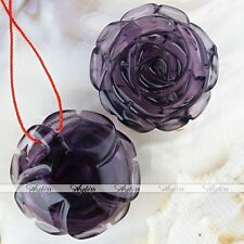 Amethyst Gemstone Carved Rose Flower Charm Loose Pendant Bead Drop for Necklace