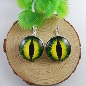 Dragon Eyes Cabochon Glass Gem Pendant Ear Hook Ear Clip Earring Jewelry 25*25mm