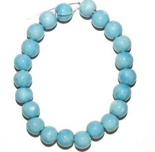 "CPC173f Dark Aqua Blue 9mm - 10mm Round Porcelain Beads 8"""