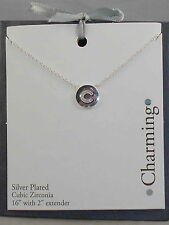 """Macy's Silver Plated Cubic Zirconia Initial C """"CHARMING"""" Disc Pendant Necklace"""