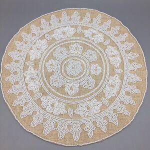 "Beaded Medallion Placemat Centerpiece Tan Jute White 15"" Round Secret Celebrity"