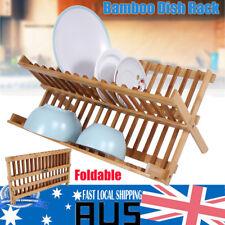 Folding Bamboo Dish Rack Drying Rack Holder Stand Utensil Drainer (Wood Color)