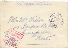 Cubierta de servicio activo GB 19/2/1915 demora T (?) 4 cancelar; censor 1966 en caja.