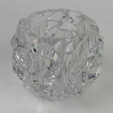 "Tiffany & Co Crystal Clear Gem Votive Or Tealight Candle Holder Etched Logo 3"""