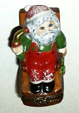 LIMOGES BOX - CHAMART - CHRISTMAS - SANTA CLAUS IN A ROCKING CHAIR & WREATH