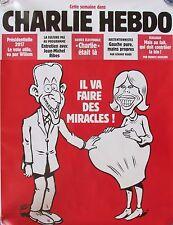 AFFICHE PUBLICITAIRE CHARLIE HEBDO  PRÉSIDENT MACRON IL VA FAIRE DES MIRACLES !