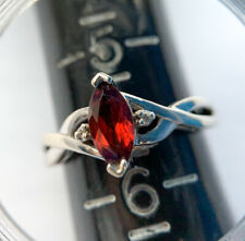 Sterling Silver Garnet Ring Twisted Size 5.5