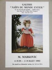 Miodrag MARKOVIC Affiche originale NAÏFS DU MONDE ENTIER SABAC SERBIE SERBIA ART