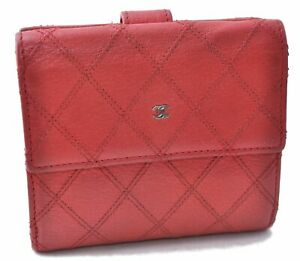 Authentic CHANEL Bicolole Calf Skin Wallet Red CC B8515