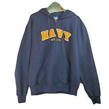 Champion Men's NAVY EST. 1775 Full-Zip Eco Fleece Blue Hoodie Jacket Sz L NWOT