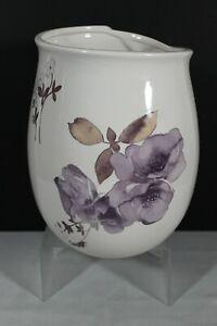 Dahlia Wastebasket - Purple Flowers with Silver Outline - Ceramic