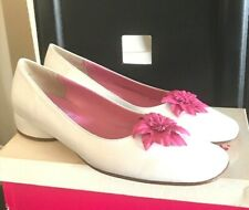 LILLY PULITZER SUN WOMENS WHITE LEATHER  FLATS SHOES 10 NEW