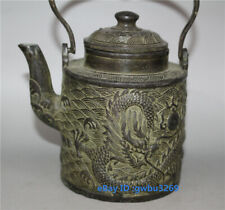 Collection Old Chinese bronze hand carved Dragon Teapot  w Qianlong Mark Z01