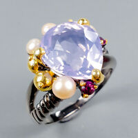 Lavender Amethyst Ring Silver 925 Sterling Top Color AA 10ct+ Size 8.5 /R128868