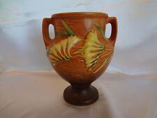 "Roseville Art Pottery - 8"" Handled Freesia Vase in Tangerine - 196-8."