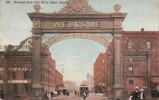 Postcard Welcome Arch from Union Depot Denver Co