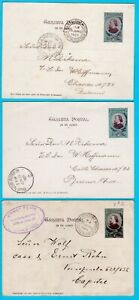 ARGENTINA 3 illustrated postal cards 1901  Buenos Aires with Belgrano, Sn Martin
