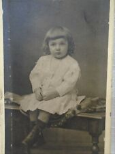 CDV Photo Young Boy Named Peter Michaud In White Shirt Dress Great Bench