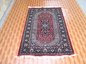 Red Color Rugs Afghan Oriental Carpet Hand Knotted 3x5 Silk Bedroom Turkish