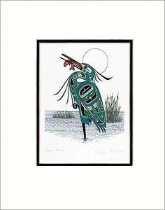 "GREEN HERON 11"" x 14"" matted print by Northern Tuchone artist Richard Shorty"