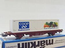 Märklin h0 4673 container carrello portante lgis Coop SJ OVP (q1866)