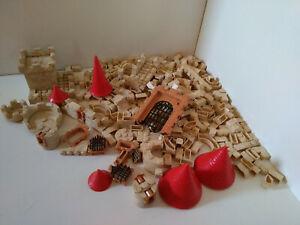 Jeux de construction château fort genre Lego lot de briques tours, porte herse..