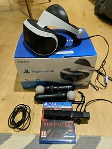 Sony PlayStation VR PSVR V1 Headset With Camera And 2 Move Controllers & 1 Game