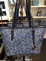 Michael Kors Women's Jet Set Travel MEDIUM Leather Carry All Tote Handbag Navy