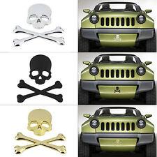 CHROME SKULL CROSS BONES CAR EMBLEM BADGE LOGO DECAL SKELETON METAL STICKER 3D N