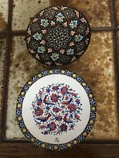 Persian Mina Style Hand Painted Set Of 2 Enamel Small Plate Wall Hanging, Signed