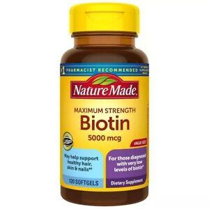 Nature Made Maximum Strength Biotin 5000 mcg Softgels - 120ct exp.09/2022