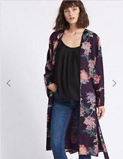 M s Purple Floral Long Sleeve Kimono Jacket Top Dressing Gown Size 10 EUR 38 49f50f6b1