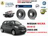 para Nissan Micra III K12 2003-on Delante Rendimiento perforados DISCO DE FRENO
