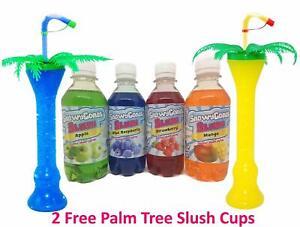 Slush Syrup MIX 'N' MATCH  4 x 250ml Includes 2 x Palm Tree Cups