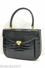 Authentic Genuine Crocodile Alligator Leather Hand Bag Purse Black Gold Ladies