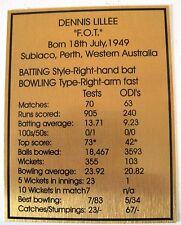 Cricket Dennis Lillee Gold Plaque Free Post