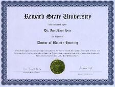 Doctor Bounty Hunting Novelty Diploma Reward Bounty