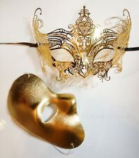 His & Hers Gossip Girl Serena Masquerade Mask - Luxury Gold Masquerade Mask