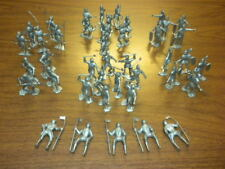 42 MARX KNIGHTS - silver playset figures dated 1965 54mm - fighting LOT