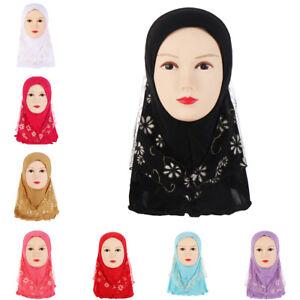 2 Layer Girls Islamic Scarf Arab Shawls Hijab For 7-11Years Muslim Children Kids