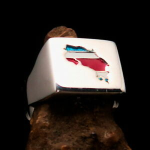 Mirror polished Men's National Flag Ring Costa Rica - Sterling Silver