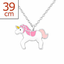 925 Sterling Silver Magical Pink & White Unicorn Necklace & Gift Bag