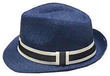 Mens Summer Lightweight Straw Fedora Hat Short Brim With Grosgrain Band Navy